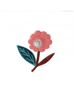 Embroidered iron-on patch with Dahlia Pink pattern
