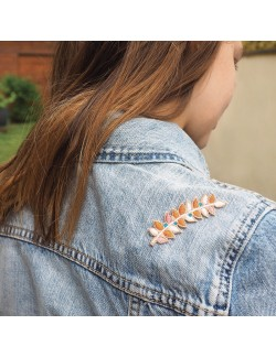 Embroidered iron-on patch with Copper Branch pattern