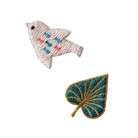 Embroidered iron-on patch with Powder Bird pattern