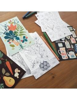 4 illustrations à colorier Bouquets
