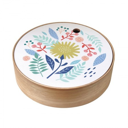Round oak box Birds size S