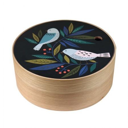 Boite ronde en chêne Birds taille M