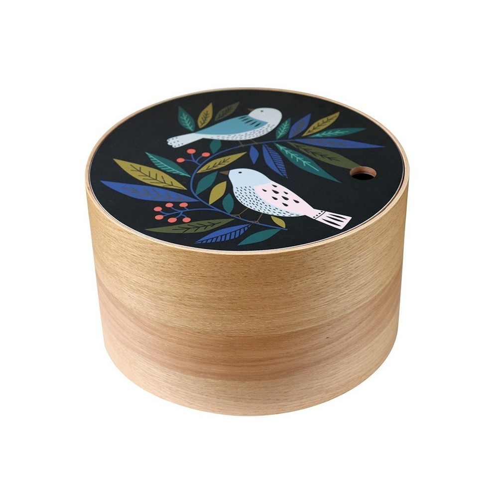 Boite ronde en chêne Birds taille L