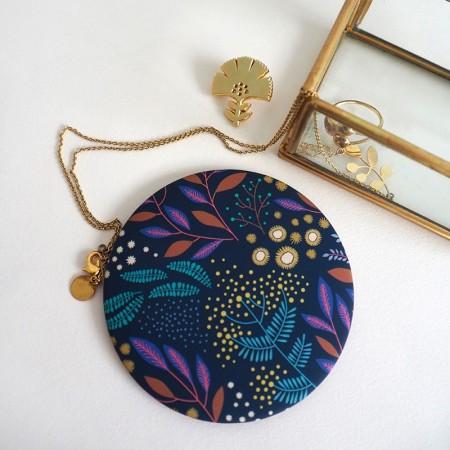 Miroir rond de poche motif Mimosa