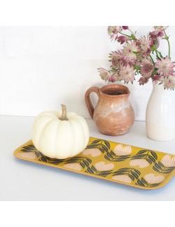 Plateau rectangulaire en bouleau motif Tulipe Lemon - 28x14cm -