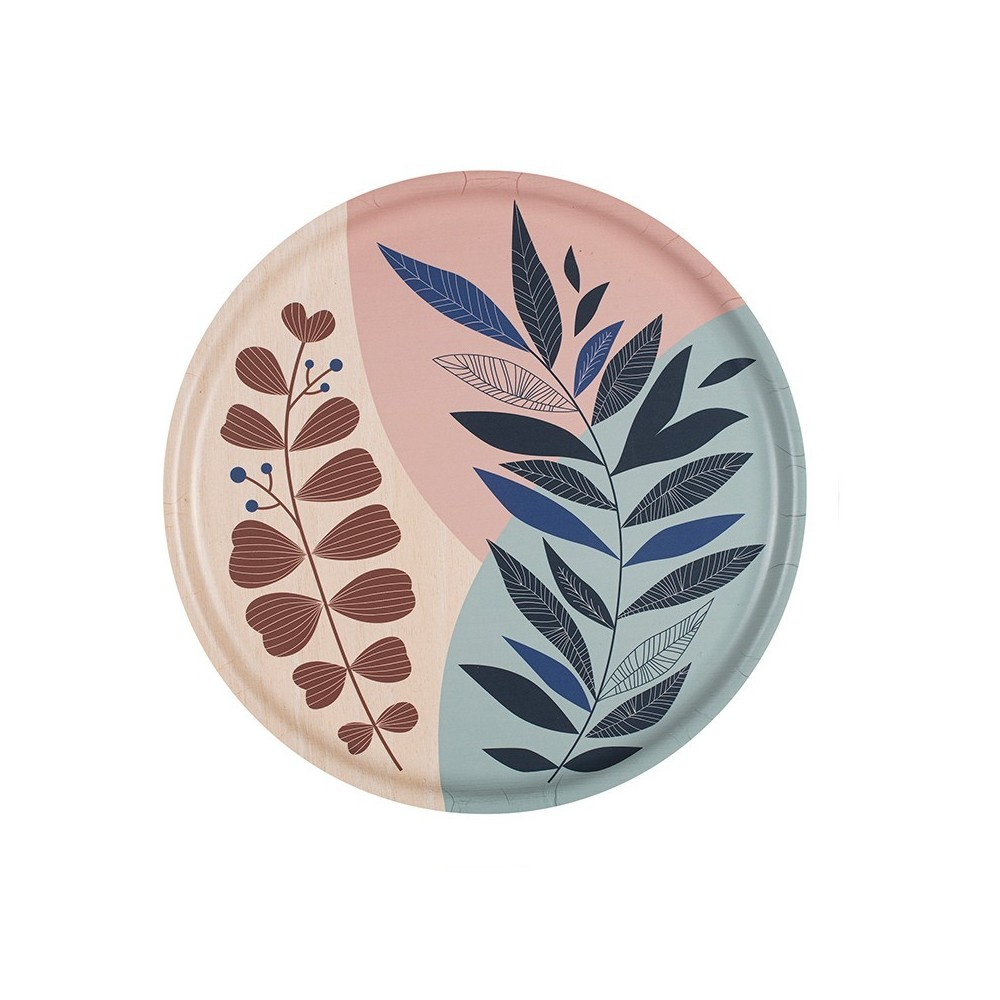 Plateau rond en bouleau motif Rameau Bleu - 35cm -
