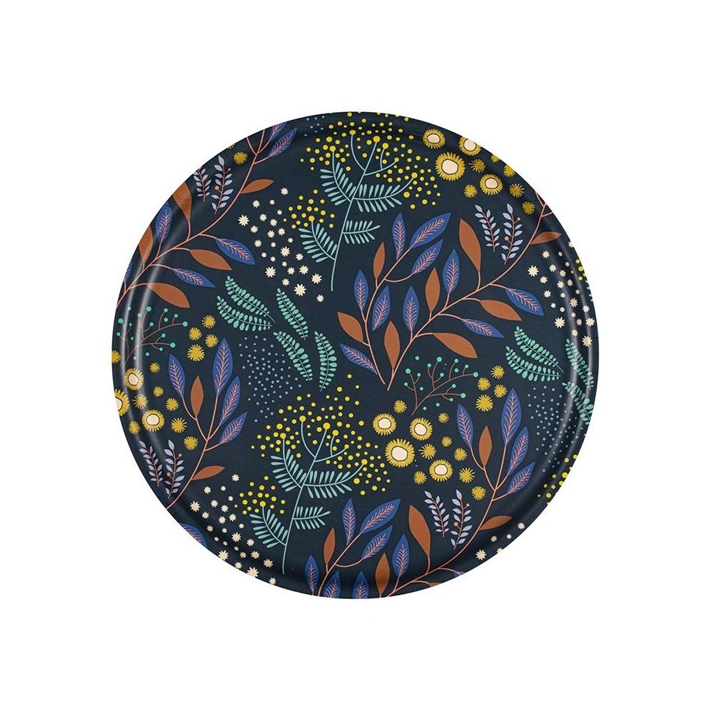 Navy Mimosa round Tray - 35 cm -