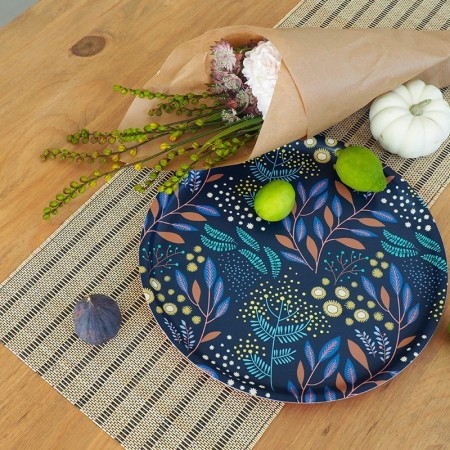 Plateau rond en bouleau motif Mimosa Marine - 35cm -