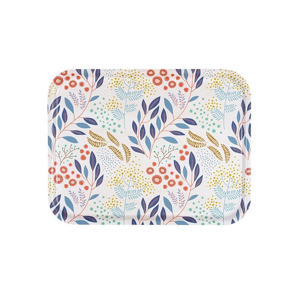 Plateau rectangulaire en bouleau motif Mimosa écu - 43x33cm -