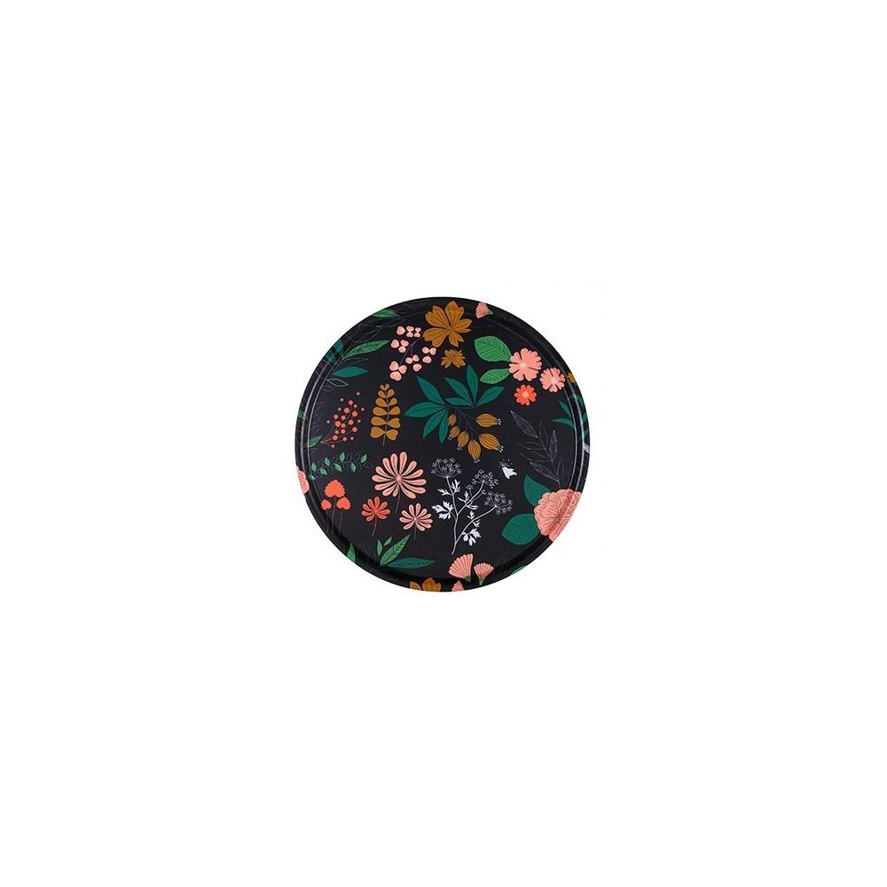 Plateau rond en bouleau motif Herbier - 45cm -