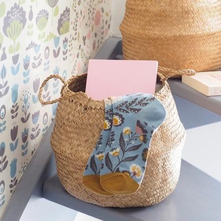 Chaussettes fantaisie en Jacquard motif Folk Gris bleu