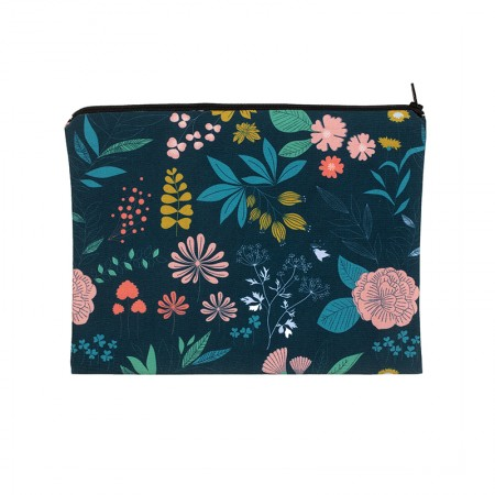 Clutch bag with black Herbarium motif
