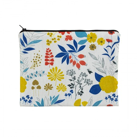 Clutch bag with grege Herbarium motif