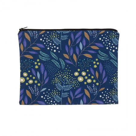 Clutch bag with navy mimosa motif