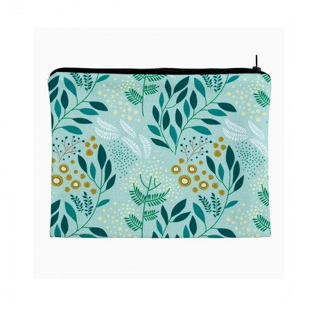 Clutch bag with green mimosa motif