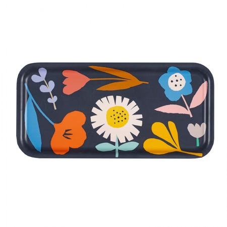 Plateau rectangulaire en bouleau motif Fleurs des champs noir - 28x14cm -