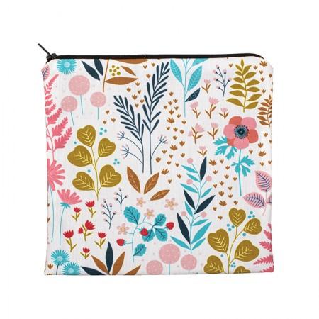 Clutch bag with ecru herbarium motif