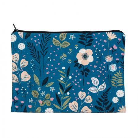 Clutch bag with navy herbarium motif
