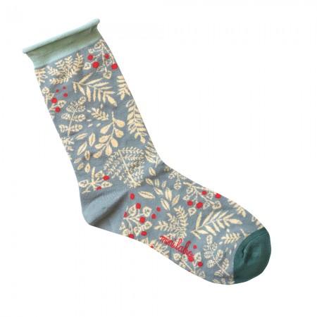 Jacquard socks with Grey Pumpons Pattern