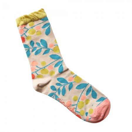 Jacquard socks with beige Pumpons Pattern