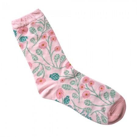 Jacquard socks with beige Pomegranate Pattern