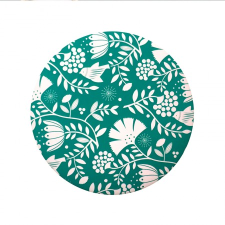 Miroir rond de poche motif India green
