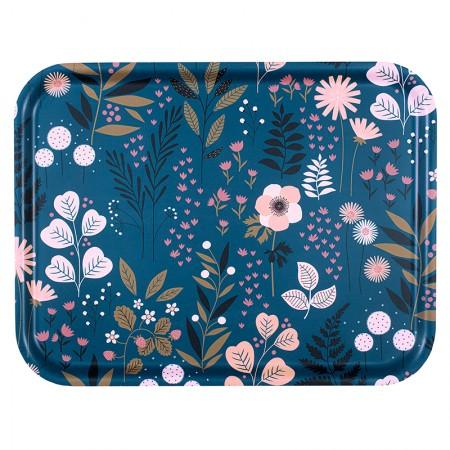 Plateau rectangulaire en bouleau motif Jardin Bleu - 43x33cm -
