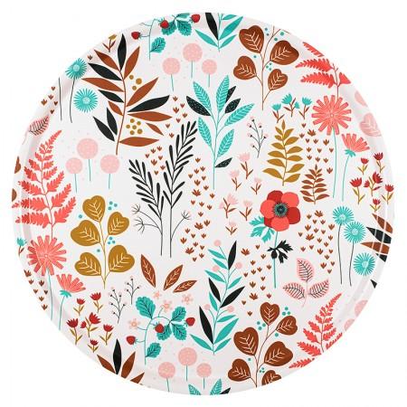 Plateau rond en bouleau motif Jardin - 45cm -