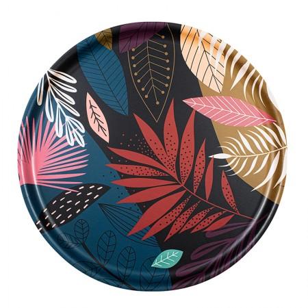 Plateau rond en bouleau motif Exotic - 35cm -