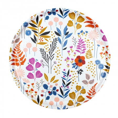Plateau rond en bouleau motif Jardin - 35cm -