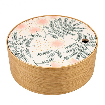 Round oak box Albizia size M