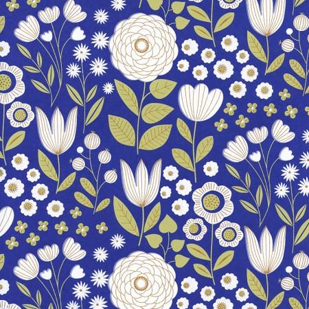 Papier japonais à la feuille motif Jardin moonlight