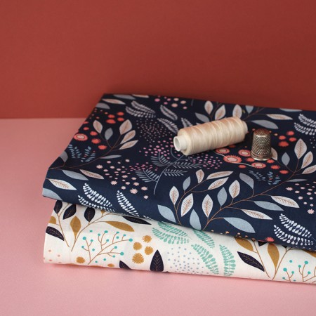 By the metre Fabric Mimosa Navy pattern
