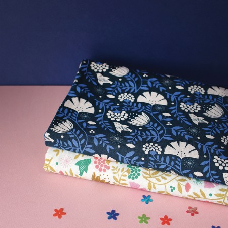 By the metre Fabric Indian Bird Indigo pattern