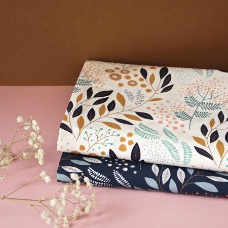 Tissu au mètre motif Mimosa Ecru