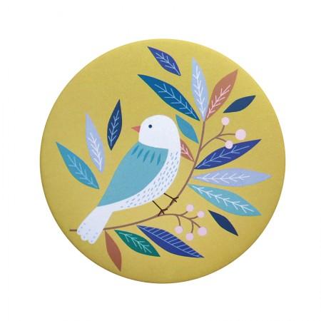 Miroir rond de poche motif Bird
