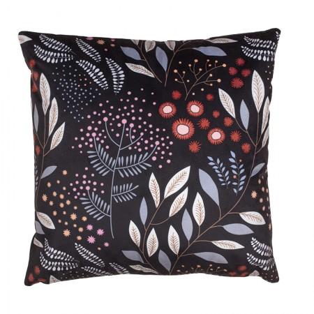 Black Mimosa velvet cushion