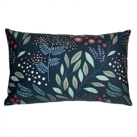 Blue Mimosa velvet cushion