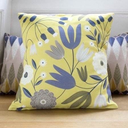 Pillow case Tulipes Slate lemon